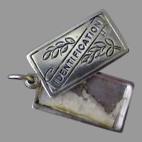 Vintage Sterling Silver Charm - Opening Identification Tag