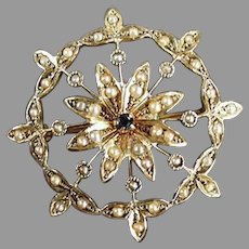 Vintage 14k Gold Star Burst Brooch Pendant - Blue Sapphire and Seed Pearls