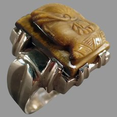 Man's Vintage 10k Yellow Gold and Tiger Eye Cameo Ring - Size 10