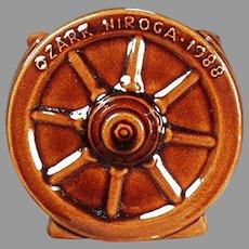 Vintage Frankoma Pottery 1988 Souvenir - Wagon Wheel Pattern Sugar Bowl - Coffee Glaze