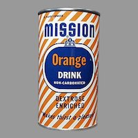 Vintage 1950's Advertising Tin Bank - 1954 Mission Orange Soda Can Bank