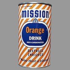 Vintage 1950's Advertising Tin Bank - 1954 Mission Orange Soda Can Bank