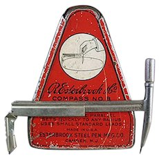 Vintage Esterbrook Drafting Compass with Original Graphic Tin - 1920's