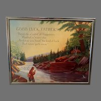 """Vintage Motto Print  """"Good Luck Father"""" for Dad with Fishing Theme - Nice Scene"""