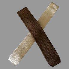 Two Vintage Neck Ties - Skinny Knit Ties – Brown and Beige