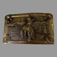 Vintage Belt Buckle with Western Theme – Bucking Bronco Cowboy