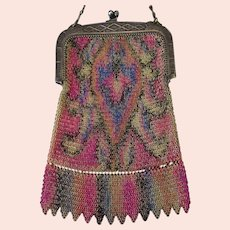 Vintage Whiting and Davis Tagged Flapper Purse – Colorful Dresden Chain Mesh Evening Bag