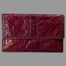 Vintage Eel Skin Handbag Clutch - 1970's 1980's Saffron - Beautiful Cordovan/Mahogany