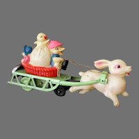 Vintage Celluloid & Tin Wind-up Easter Toy – Bunny Rabbit Pulling Ducks & Chick