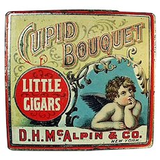 Vintage Tobacco Tin with Cherub Graphics - Cupid Bouquet Little Cigars