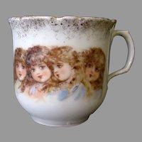 Vintage Porcelain Tea Cup with Four, Sweet Victorian Children