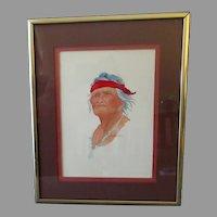 Small Original Watercolor Painting – Native American Indian - Artist Signed, Beardmore