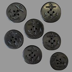 Vintage Naval Peacoat Jacket Buttons – Seven Early Plastic -1940's/1950's