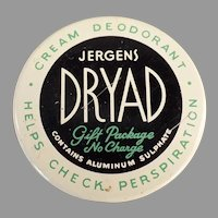 Vintage 1950's - 1960's Jergens Dryad Deodorant - Milk Glass Jar