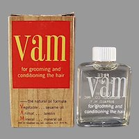Little Vintage Sample Bottle of VAM Hair Dressing with Original Box and Literature