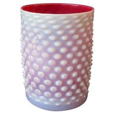 Vintage Cylindrical Art Glass Light Shade for Gas Fixture - Opalescent Pink Hobnail