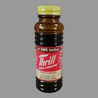 Vintage 1954 Sample Glass Bottle of Thrill Furniture Wax