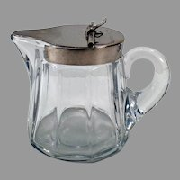 Vintage Heisey Glassware - #353 5oz Sanitary Syrup Pitcher with Metal Lid