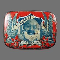 Vintage Reichard and Scheuber Yankee Razor Tin - Antique Safety Razor Tin, Nice Graphics
