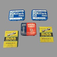 Assorted Vintage Fuse Tins & Boxes – Killark, Atlas & Buss, Some with Product