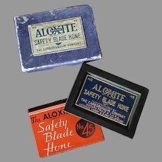 Vintage Aloxite #45 Safety Razor Blade Hone with Original Box & Instructions