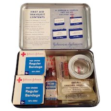 Vintage J&J Johnson and Johnson First Aid Tin Travelkit with Medical Contents