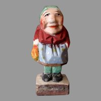 Vintage Occupied Japan Miniature Figure – Old O.J. Woman in Wood Carving Style