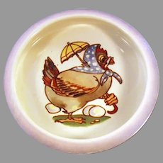 Vintage Baby's Plate Feeding Dish - Dressed Mother Hen Lusterware Bowl
