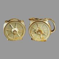 Vintage Ada Clay Desert Gold Frankoma Pottery Set - Wagon Wheel Cream & Sugar