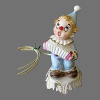 Vintage Porcelain Bisque Night Light Electric Lamp - Fun Clown for Child's Room