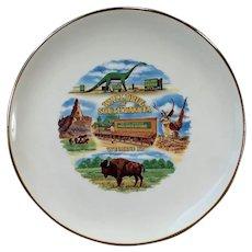Vintage Souvenir Plate - Wall Drug of South Dakota - Dinosaur & Flying Jackalope