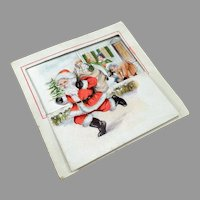 Little Vintage Christmas Card with Fun Graphics of Santa and Childre