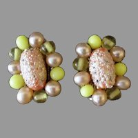 Vintage 1950's-1960's Pink and Yellow Bead Clip-On Costume Earrings, Japan