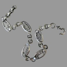 Vintage Pocket Watch Chain with Unusual Decorative Links, Silver – Multiple Hallmarks