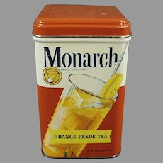Vintage Reid Murdoch Monarch Tea Tin, Orange Pekoe with Colorful Graphics