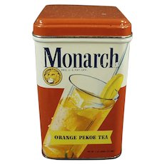 Vintage Reid Murdoch Monarch Tea Tin, Orange Pekoe with Colorful Graphics