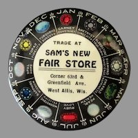 Vintage Celluloid Mirror and Birthstone Chart - Sam's New Fair Store Advertising