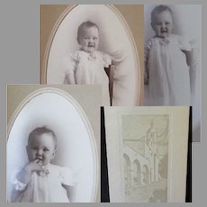 Three Vintage Baby Photographs in Boise Union Pacific Depot Folder Frames (3)