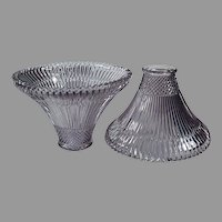 Two Sun Purple Vintage Glass Light Shades with Small Neck Size