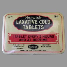 Vintage Norwich Laxative Cold Medicine Tablets Medical Advertising Tin