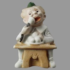 Vintage German Bisque Match Holder with Comical Little Character