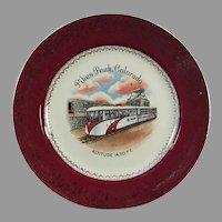 Vintage Pikes Peak Colorado Souvenir Plate with Sleek Streamline Tram Cog Train