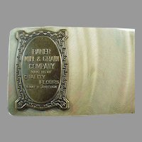 Vintage Celluloid Advertising Blotter with Metal Medallion from Baker Oregon Mill and Grain
