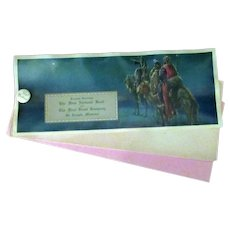 Vintage Celluloid Advertising Ink Blotter - Christmas Greeting - Three Wise Men