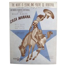 Vintage Sheet Music - Night is Young and You're So Beautiful with Cowgirl