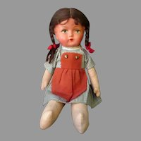 Vintage Celluloid and Cloth Doll - Pinafore and Pigtails - Original Clothes