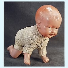 Vintage Celluloid Wind-up Baby Doll with Crawling Action - Wind Up Toy from Japan