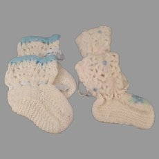 Two Pair of Vintage Handmade Booties for Large Baby Dolls