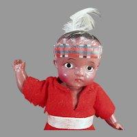 """Vintage 7"""" Celluloid Boy Indian Brave Doll in Original Red Felt Costume"""