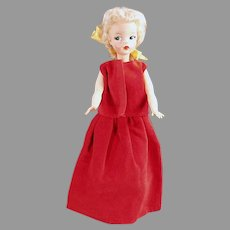 Vintage Red Velveteen Evening Gown for Tammy & Other Similar Teen Dolls - 2 Piece